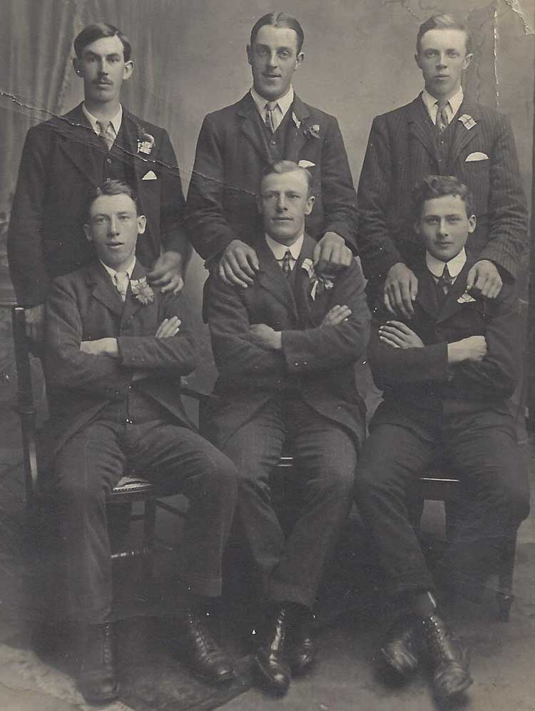 Six North Cerney men on the day they enlisted